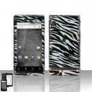 Hard Plastic Design Faceplate Case Cover for Motorola Droid - Black/Silver Stripes