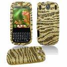 Hard Plastic Design Gem Bling Case for Palm Pixi - Gold/Black Stripes