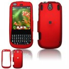 Hard Plastic Rubber Feel Faceplate Case Cover for Palm Pixi - Dark Red