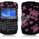 Black/Pink Skulls Design Hard Faceplate Case for BlackBerry Bold 9700