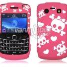 Pink/White Skulls Design Hard Faceplate Case for BlackBerry Bold 9700