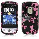 Black/Pink Skulls Design Hard 2-Pc Snap On Faceplate Case for HTC Hero CDMA (Sprint)