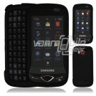 "Black Hard ""Rubberize"" 2-Pc Snap On Plastic Faceplate Case for Samsung Reality U820 (Verizon)"