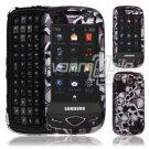 Black Skulls Design Hard 2-Pc Snap On Faceplate Case for Samsung Reality (Verizon Wireless)