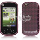 Pink Argyle Design 1-Pc Hard Rubber Skin Case for Motorola Cliq XT (T-Mobile)