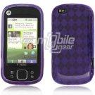 Purple Argyle Design 1-Pc Hard Rubber Skin Case for Motorola Cliq XT (T-Mobile)