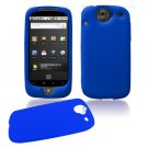 Soft Rubber Silicone Skin Cover Case for Google Nexus One - Blue