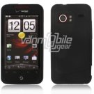 """Black Hard 2-Pc """"Rubberize"""" Snap On Faceplate Case for HTC Droid Incredible"""