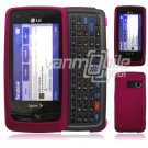 "Purple Hard 2-Pc ""Rubberize"" Plastic Snap On Faceplate Case for LG Rumor Touch (Sprint)"