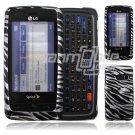Black/Silver Zebra Design Hard 2-Pc Snap On Faceplate Case for LG Rumor Touch (Sprint)