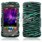 Turquoise/Black Zebra Design Hard Case for LG Chocolate Touch VX8575