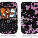 Pink/Black Skulls Design Hard 2-Pc Snap On Plastic Faceplate Case for BlackBerry Curve 8520/8530