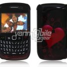 Carbon Fiber Heart Design Hard 2-Pc Snap On Plastic Faceplate Case for BlackBerry Curve 8520/8530