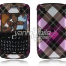 Pink Plaid Design Hard 2-Pc Snap On Plastic Faceplate Case for BlackBerry Curve 8520/8530