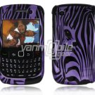 Purple Zebra Face Design Hard 2-Pc Snap On Plastic Faceplate Case for BlackBerry Curve 8520/8530