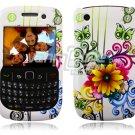 White Flower Design Hard 2-Pc Snap On Plastic Faceplate Case for BlackBerry Curve 8520/8530
