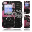 Black Heart Design Hard 2-Pc Snap On Faceplate Case for LG Cosmos/LG Rumor 2 (Verizon/Sprint)