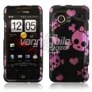 Black/Pink Skull Design Hard 2-Pc Snap On Faceplate Case for HTC Droid Incredible (Verizon Wireless)