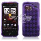 Purple Argyle Design 1-Pc Hard Rubber Case for HTC Droid Incredible (Verizon Wireless)