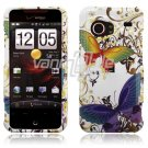 White Butterfly Design Hard 2-Pc Snap On Faceplate Case for HTC Droid Incredible (Verizon Wireless)