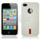 """White 1-Pc Hard Rubber """"Red Label"""" Gel Case for Apple iPhone 4 (16GB/32GB)"""