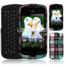 Turquoise Plaid Design Hard 2-Pc Snap On Faceplate Case for myTouch Slide (T-Mobile)
