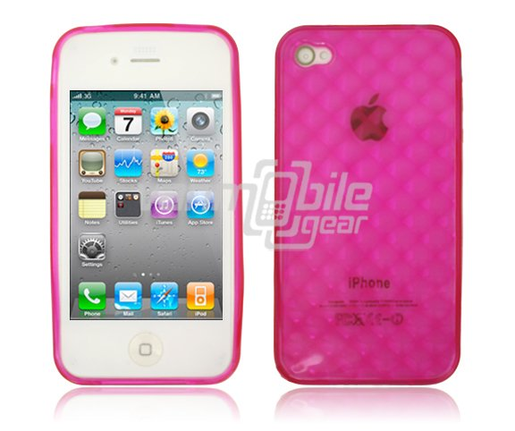 "Pink  Hard 1-Pc ""Prism Design"" Rubber Gel Skin Case for Apple iPhone 4 (16GB/32GB)"