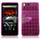 HOT PINK 1-PC DESIGN SKIN CASE for MOTOROLA DROID X PHONE