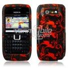 BLACK/RED FLORAL STARS CASE COVER + SCREEN GUARD 4 NOKIA E71 E71X