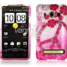 PINK FLOWER/PEACE FACE PLATE CASE for SPRINT HTC EVO 4G
