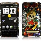 SKULL WITH HEART FACE PLATE CASE for SPRINT HTC EVO 4G