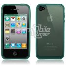 BLUE SEE THRU RUBBER SKIN CASE for IPHONE 4 4TH GEN 4OS