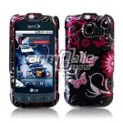 BLACK/PINK BUTTERFLY DESIGN CASE for LG OPTIMUS S