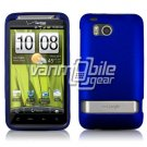 BLUE RUBBERIZED CASE + CAR CHARGER for HTC THUNDERBOLT