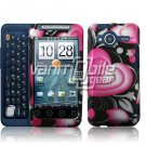 HTC Evo Shift 4G Pink/Black Hearts Design Hard 2-pc Plastic Case + Screen Protector + Car Charger
