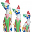 Wooden cats set of 3