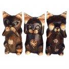 Wooden cats set of 3 see no evil hear no evil speak no evil