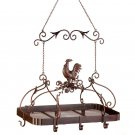 Country Rooster Iron Pot Rack