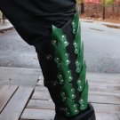 Drogo's Fury Dragon Scale Adjustable Leather Leg Greaves   Black and Green