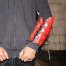 Drogo's Wrath Medieval Adjustable Leather Scaled Arm Bracer | Black and Red |