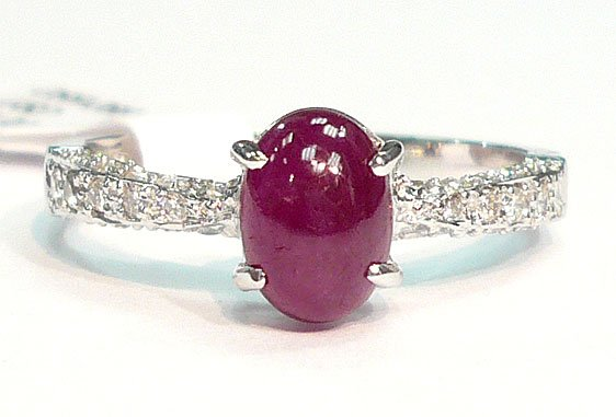 18K White Gold Ruby 0.30cts. Center Stone & Diamond Side Stone Ring