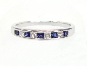 18K White Gold 0.21cts. Diamond & 0.29cts. Blue Sapphire Diamond Wedding Band