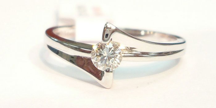 18K White Gold 0.18cts. Diamond Solitare Ring