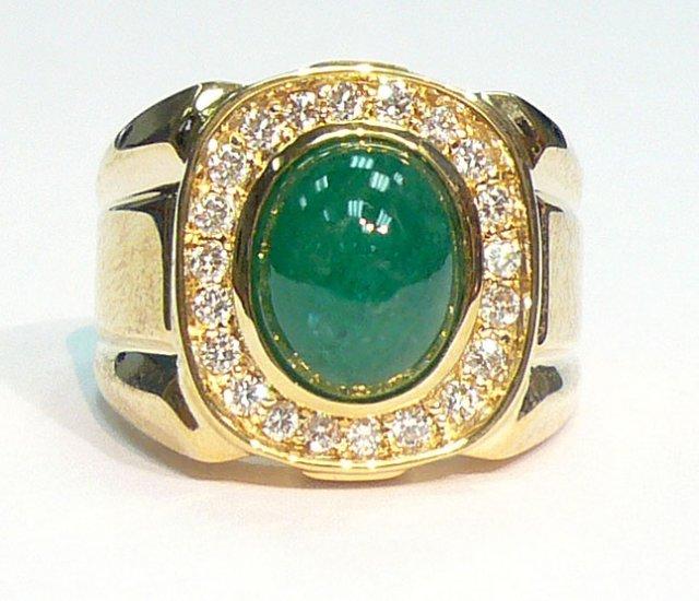 9K Yellow Gold 0.38cts Diamond & 4.67cts. Emerald Men's Ring