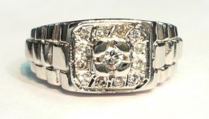 18K White Gold 0.16cts. Diamond Men's Ring