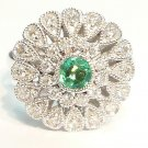 18K White Gold 0.43cts. Diamond & 0.23cts. Emerald Ring