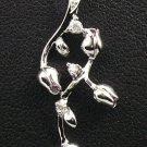 18K White Gold 0.06 Diamond & 0.07 Pink Sapphire Pendant