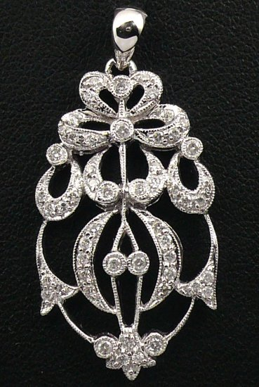 18K White Gold 0.38cts Diamond Pendant