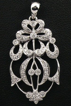 18K White Gold 0.38cts Diamond Pendant