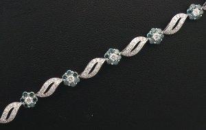 18K White Gold 1.75cts Diamond & 2.24cts Treated Blue Diamond Bracelet